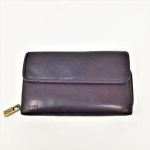 Fossil Leather Wallet Dark Brown Long Vintage